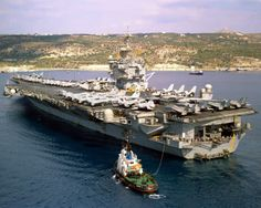 U.S. aircraft carrier USS Enterprise is shown en route to its homeport following an extended deployment October 29, 2001 that included missi...