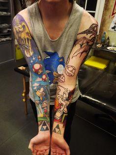 Cartoon Sleeve! Sonic, Mario etc! LOVELOVELOVE #tattoos