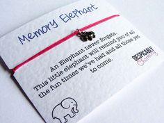 Friendship Bracelet -  Memory Elephant Bracelet,  Adjustable Cord Bracelet, Bridesmaid Bracelet, Party Favours ,Wedding Favours, BFF Gift by DespicablyCharming on Etsy https://www.etsy.com/listing/200898635/friendship-bracelet-memory-elephant
