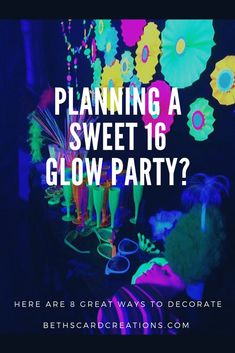 Decorating for a Glow Party Here are eight striking decor ideas for your upcoming glow party. Whether it be a sweet Halloween, corporate, or party, black light fluorescent neon glow parties are a huge hit. Glow Party Decorations, 16th Birthday Decorations, Kids Birthday Themes, Birthday Party For Teens, Party Themes, Neon Party, 80s Party, Colorful Party, Casino Party