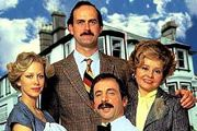 Fawlty Towers. Image shows from L to R: Polly (Connie Booth), Basil Fawlty (John Cleese), Manuel (Andrew Sachs), Sybil Fawlty (Prunella Scales).