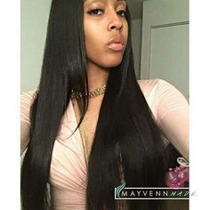 """She is wearing 4 bundles of Brazilian loose wave Mayvenn hair pressed out. Lengths 18"""" 20"""" 22"""" and 24"""" with a 14"""" lace closure.   Shop the look at stizzy.mayvenn.com and get 25% off  use code HOLIDAY at checkout.  Like Mayvenn Beauty https://www.facebook.com/stizzy.mayveinhair/"""