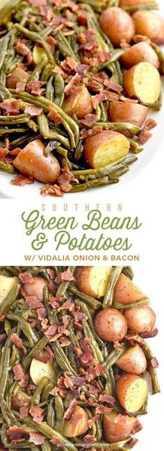 Southern Recipes Southern Green Beans and Potatoes with Vidalia Onion and Bacon Recipe Bacon Recipes, Vegetable Recipes, Cooking Recipes, Healthy Recipes, Potato Recipes, Yummy Recipes, Beans Recipes, Healthy Food, Southern Green Beans