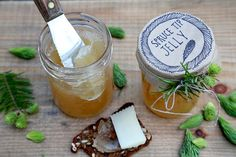 Learn how to make spruce tip jelly from Kitchen Vignettes on PBS Food. The Christmas flavor has a springtime citrus element. Jelly Recipes, Jam Recipes, Canning Recipes, Dessert Recipes, Recipies, Desserts, Pbs Cooking Shows, Pomona Pectin, Spruce Tips