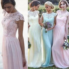Pastel Ice Blue Blush Bridesmaid Dresses 2015 Crew Neck Cap Sleeves Chiffon Lace Custom Made Bridesmaid Dress Wedding Party Dresses