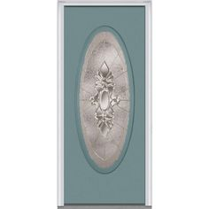 Milliken Millwork 31.5 in. x 81.75 in. Heirloom Master Decorative Glass Full Oval Lite Painted Fiberglass Smooth Exterior Door, Riverway