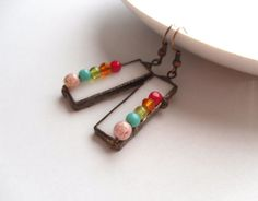 Anniversary gift, trendy earrings, stained glass jewelry, christmas gift, bohemian jewelry, bridesmaid gift, colorful, rainbow, statement