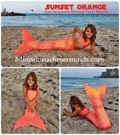 Sunset Orange Swimmable Mermaid Tail W/ Monofin #MiamiBeachMermaids #SwimmableMermaidTail