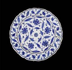 A fine Iznik blue and white pottery Dish.Turkey, circa 1570