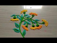Easy and small rangoli designs/rangoli by jyoti Rathod Indian Rangoli Designs, Rangoli Designs Flower, Small Rangoli Design, Rangoli Designs With Dots, Flower Rangoli, Beautiful Rangoli Designs, Kolam Designs, Mehndi Designs, 3d Rangoli