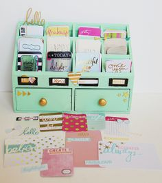 Project Life Organizer I actually have this exact organizer from Hobby Lobby. I don't know why I haven't thought about painting it! Project Life Storage, Project Life Organization, Scrapbook Organization, Craft Room Storage, Planner Organization, Scrapbook Supplies, Craft Rooms, School Organization, Project Life Scrapbook