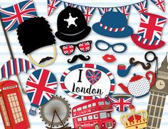 Printable British Party Photo Booth Props London Inspired