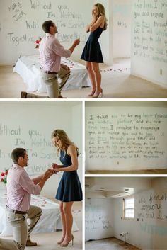 He wrote love letters all over the walls of their new first home, and it's the most meaningful and romantic proposal. Wedding and Event Detailing and Planning Wedding Events, Our Wedding, Destination Wedding, Wedding Planning, Dream Wedding, Wedding Table, Event Planning, Romantic Proposal, Perfect Proposal