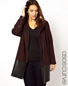 Buy ASOS CURVE Exclusive Biker Coat With Leather Look Panel at ASOS. With free delivery and return options (Ts&Cs apply), online shopping has never been so easy. Get the latest trends with ASOS now. Asos Fashion, Curvy Fashion, Womens Fashion, Trendy Plus Size Fashion, Plus Size Kleidung, Plus Size Coats, Coats For Women, Plus Size Outfits, What To Wear
