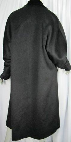 Vintage-BONWIT-TELLER-Coat-Womens-Size-L-XL-Black-Wool-Cashmere-Velvet-Trim