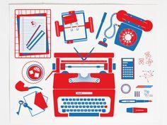 Gonzo's Desk 2 color embossed screenprint / 48cm x 38cm £40.00