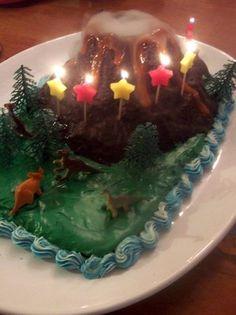 volcano cake, volcano birthday cake