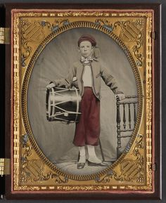 Unidentified boy in Union zouave uniform with drum - From the Liljenquist Family Collection of Civil War Photographs.