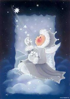Mignonnes illustrations de Kaarina Toivanen Blue Christmas, Christmas Angels, Vintage Christmas, Christmas Crafts, Illustration Noel, Christmas Illustration, Illustrations, Christmas Drawing, Christmas Paintings