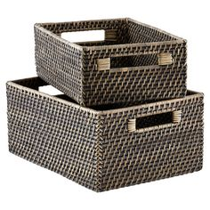 Blackwash Rattan Bins  these would be great for my bathroom cabinets when I re-do them