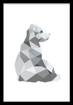 Elementer med polygon og dyr til grått interiør