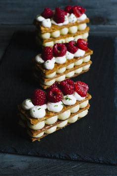 Mayumi (alias Mimi!) baked again in our kitchen to continue with our French patisserie series. I have always wanted to make a millefeuille but to date never made the jump, so I watched Mayumi work and assemble it. She has not finished to impress me with her technique and precision. And the result was as yummy as it looks. It is the end of the season for the raspberries and she used organic vanilla pods from Niue island in the South Pacific, which I had never come across before: the pods are…