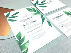 Greenery Wedding Invitations with Gray and Copper Accents. Green leaves with bold text stand out agains the gray envelope. Add a copper accent by adding a metallic copper envelope liner.