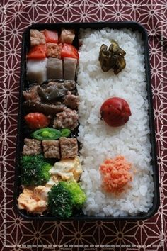 Japanese Bento Lunch (Umeboshi Plum and Cucumber Pickles, Salmon Flakes on Rice) 弁当