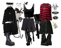 """""""Graveyard Creeps"""" by mistyghosts ❤ liked on Polyvore featuring Pleaser, Tarina Tarantino, Doublju, Hot Topic, R13, Capezio and County Of Milan"""