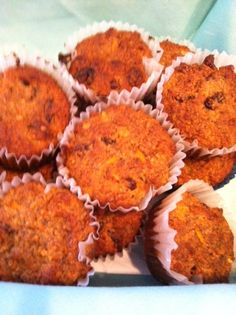**Wheat-less Carrot Raisin Muffins - Wheat Belly recipe made with almond flour Healthy Muffin Recipes, Healthy Gluten Free Recipes, Gf Recipes, Gluten Free Baking, Low Carb Recipes, Paleo, Wheat Belly Recipes, Wheat Free Recipes, Raisin Muffins