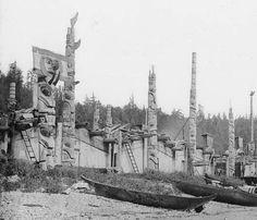Skidegate Indian Village of the Haida tribe. Skidegate Inlet, British Columbia, Canada.