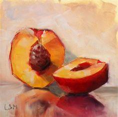 """Nectarine Sliced"" - Original Fine Art for Sale - © by Linda Marino"