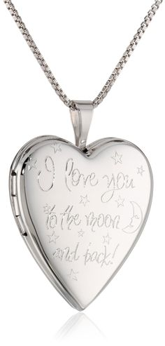"""Sterling Silver Engraved """"I Love You to the Moon and Back"""" Heart Locket Necklace, 18"""""""