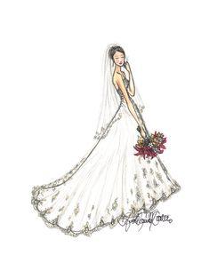 custom bridal portrait - wedding dress illustration. $75.00, via Etsy.