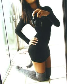 Long sleeve little black dress with over the knee socks #sexy