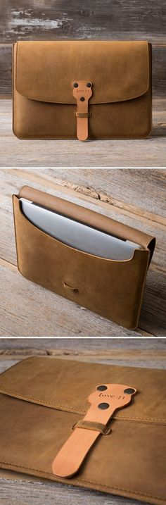 The new MacBook Case is made with full grain leather, features outward seams to help protect your laptop, and doubles as a document holder. Come have a closer look! Leather Art, Leather Gifts, Leather Design, Leather Tooling, Leather Clutch, Leather Handbags, Do It Yourself Fashion, Leather Projects, Leather Accessories