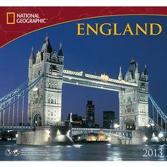 England National Geographic Wall Calendar: England is more than just tea and crumpets! National Geographic England 2013 presents a royal tour that any lover of England will enjoy. From the rolling countryside and grassy knolls to the delightful city centers, any fan of England will agree that this calendar reveals the true heart of the country.  $13.99  http://calendars.com/United-Kingdom/England-National-Geographic-2013-Wall-Calendar/prod201300003300/?categoryId=cat00715=cat00715#