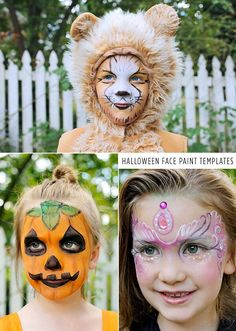 Halloween face paint templates - with the step-by-step directions, I think I could actually pull these off... my kids will be so impressed :)