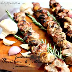 Grilling that looks as good as it tastes! Grilled Mushroom & Sirloin Skewers with Rosemary Shallot Marinade - Delightful E Made