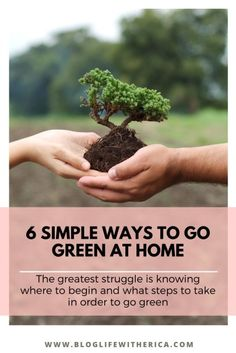 Knowing how much our daily living and choices impact and affect the environment can be overwhelming. Especially, for me as a mother in a family of 4. The greatest struggle is knowing where to begin and what steps to take in order to go green. Today, I am sharing 6 Simple Ways to Go Green at Home. #gogreen #ecofriendly #zerowaste #nature #sustainability #environment #green #savetheplanet #sustainable #recycle #sustainableliving #plasticfree #climatechange #eco #reuse #noplastic #handmade