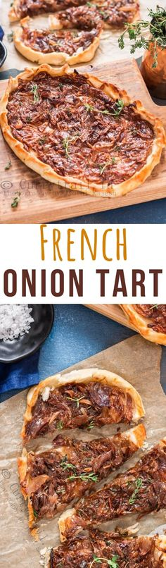 French onion tart is a savory tart that great for party appetizer. Sweet caramelized onions, hint of fresh herbs and ricotta cheese over homemade tender crispy pastry sure to become everyone favorite appetizer. Pork Recipes For Dinner, Italian Dinner Recipes, Tofu Recipes, Wine Recipes, Vegetarian Recipes, Onion Recipes, Pizza Recipes, Recipies, Gourmet Appetizers