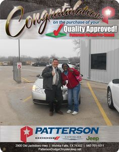 Congratulations to Patricia Robinson from Vernon, TX on her new pre-owned Pontiac G -From David Reece at Patterson Dodge Chrysler Jeep Ram! Vernon Tx, Dodge Chrysler, Fiat, Congratulations, David