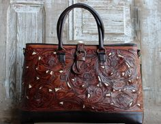 A Cowgirl's Promise LLC Store - Juan Antonio Tooled Leather Travel Bag with Ivory Inlay - #CowgirlChic