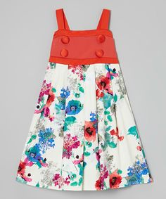 Look what I found on #zulily! White & Red Floral Button Dress - Girls by Maggie Peggy #zulilyfinds