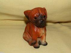 BULLDOG FIGURINE VINTAGE CERAMIC BISQUE BOXER PUP PUPPY BROWN BLACK FIGURE DOG