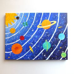 Original solar system painting done in bright colors, perfect for a space themed nursery, kids room or play room. Great for the kids who loves outer