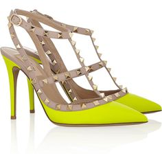Valentino Rockstud neon leather pumps ($662) ❤ liked on Polyvore featuring shoes, pumps, heels, valentino, pointed toe ankle strap pumps, pointed toe pumps, high heel shoes, pointy toe pumps and neon yellow pumps