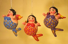 Mexican mermaid folk art will never stop being amusing. Mermaid Ornament, The Little Mermaid, Paper Mache, Folklore, Mermaids, Bathing Beauties, Papier Mache, Sirens, Ariel