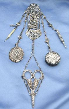 Silver( Sterling) Chatelaine, Victorian. 5 Attachments