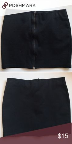 Forever 21 Black Mini Skirt Short black stretchy skirt with front exposed zipper closure. 13 inches long. Size 8. Forever 21 Skirts Mini